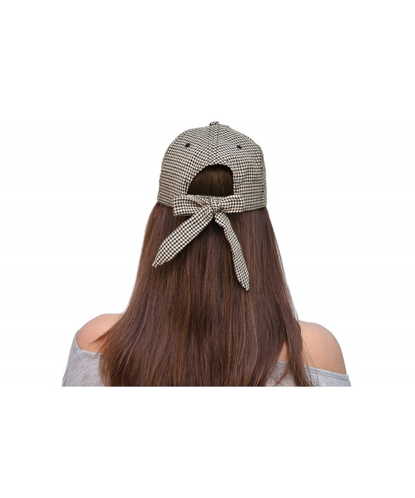 Skyed Apparel Women's Trendy Bowtie Baseball Cap Hat Collection (Multiple Colors) - Dark Olive Chidori Pattern - C412JYWBYJR