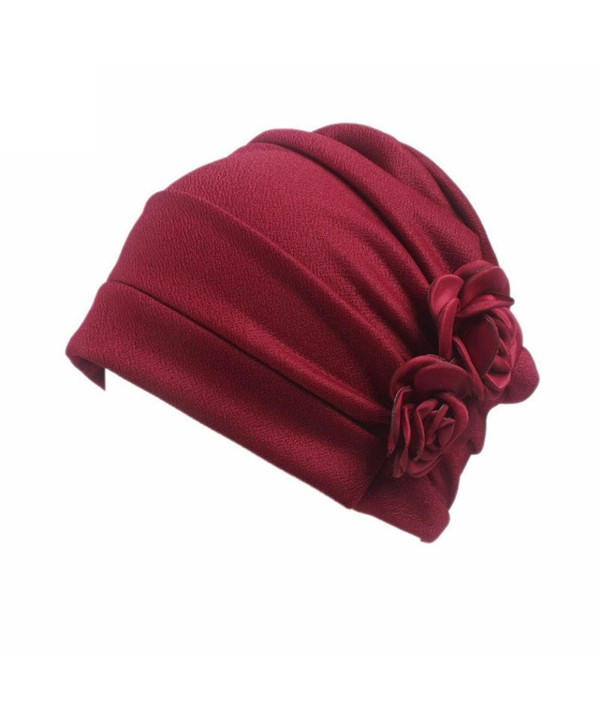 Highpot Women Flowers Head Cap Chemo Beanie Cancer Hat Scarf Turban Wrap Cap - Red - CO184S9HR7Q