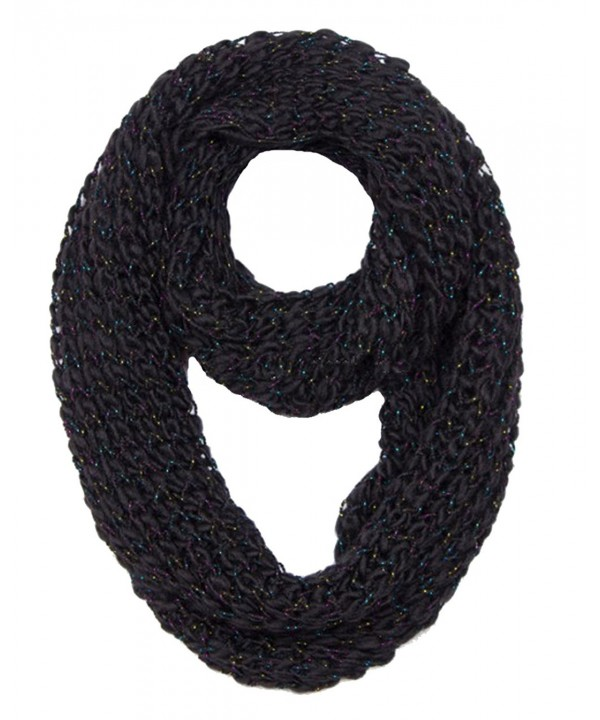 Peach Couture Winter Warm Sequin Multicolor Chunky Knit Infinity Loop Cowl Scarves - Black - CO12MZ5WAOB