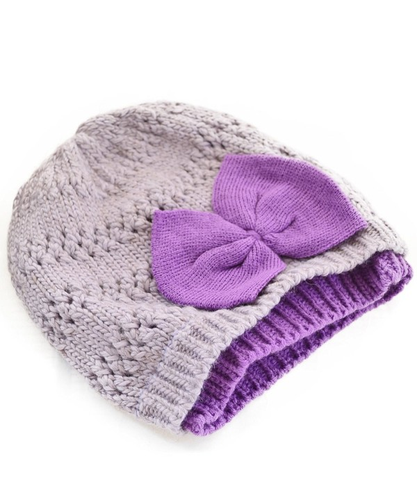 Women Chunky Beanie Double Knit Cap Skull Ski Hat (14 Colors) - Purple - C011NCP3THD
