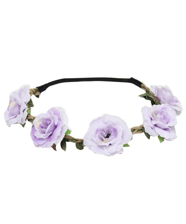PHOTNO New Style Floral Flower Party Wedding Hair Wreaths Headband Hair Band - Purple - CN12MDKO13D