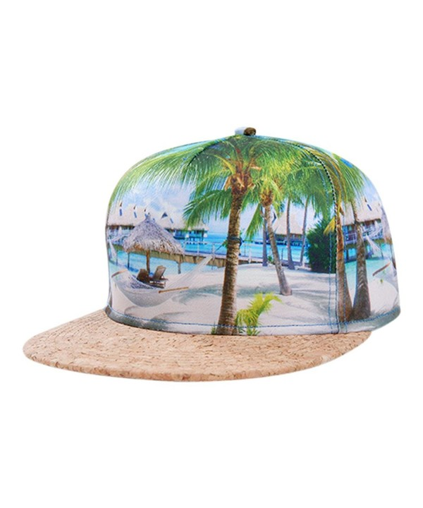So'each Galaxy Hawaii Coconut Tree Print Flatbill Visor Snapback Cap Baseball Hat - CE12E6122CT
