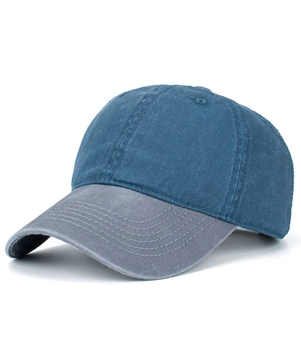 HH HOFNEN Washed Cotton Baseball Cap Pigment-Dyed Distressed Dad Visor Hat - Grey+navy - CF1868KRC4X