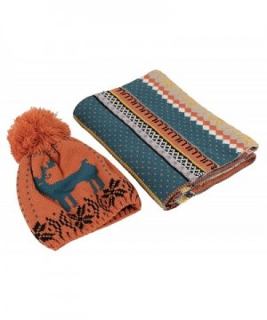 Kaisifei Winter Warm Christmas Knitted Scarf and Hat Set - Orange - CR12N19ZL77