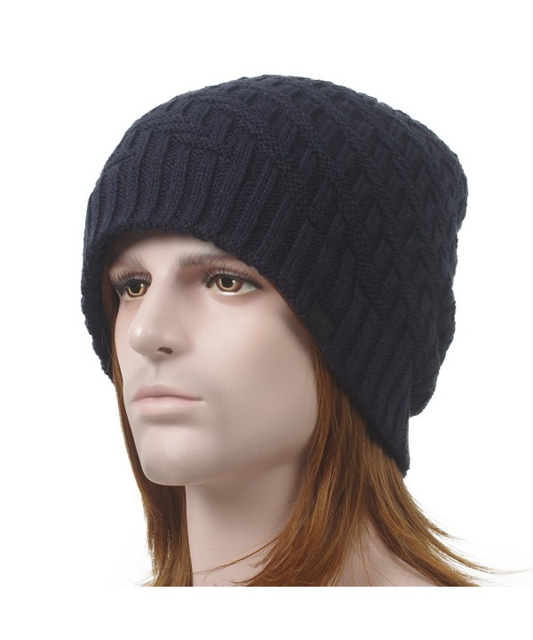 Janey&Rubbins Winter Thick Baggy Knitted Long Beanie Hat Fleece Lining Slouch Skull Ski Cap - Navy - CL12607VFKH