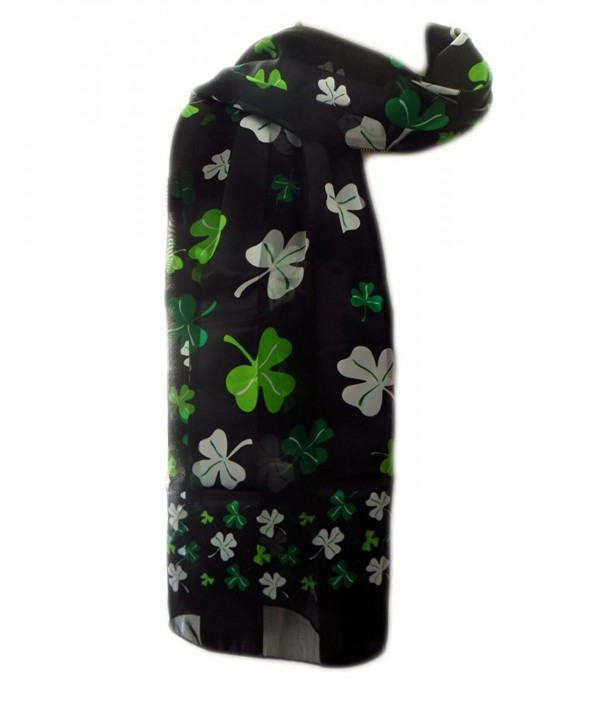 New Company Womens St Patrick Day Clovers Shamrocks Scarf - Black - One Size - CM11IUGE5N1