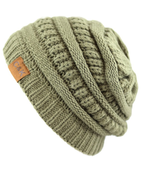 THE HAT DEPOT Women & Men Knit Beanie Soft- Warm and Chunky Beanie - Olive - CA12MZ6YN6Y