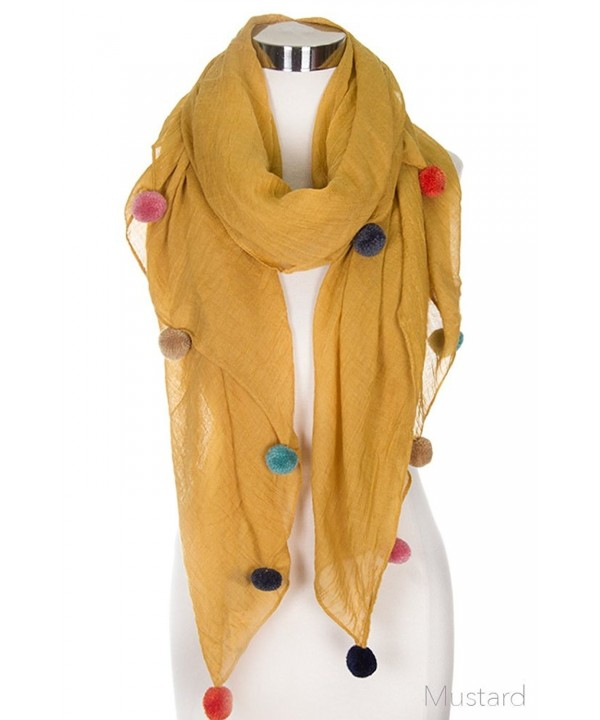 ScarvesMe Glamorous Fashion Light Weight Solid Pom Pom Oblong Scarf - Mustard - CM1856535W7