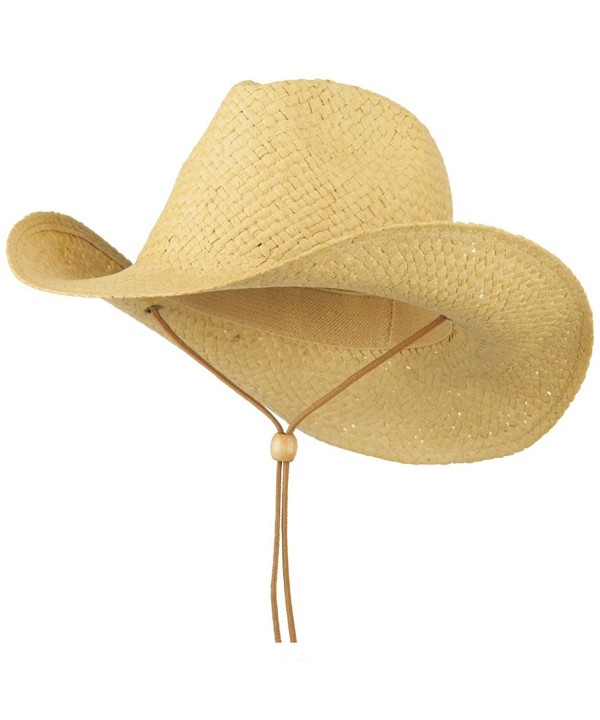 Adjustable String Straw Cowboy Hat - Natural - C211VSYG9L3