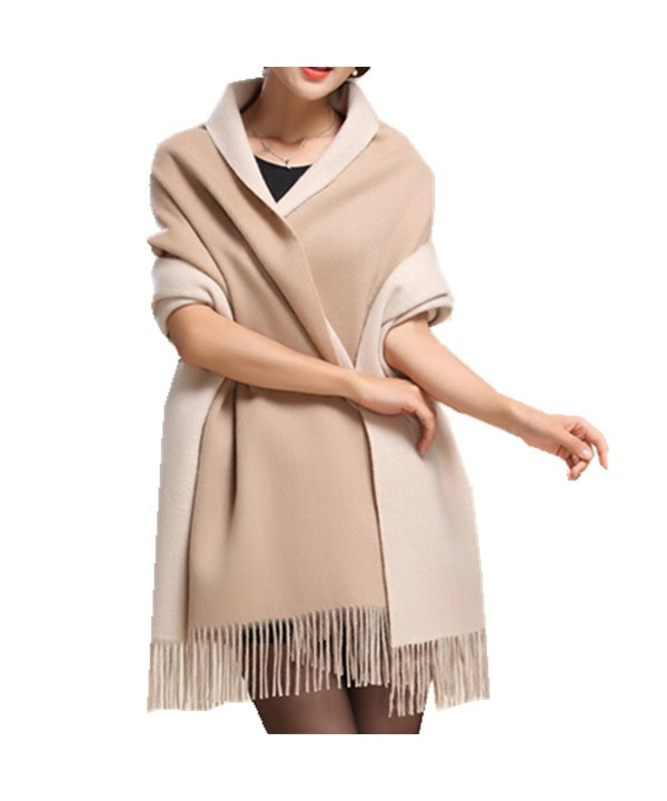 Saferin Cashmere Winter Shawl 26 Khaki - Double-faced Khaki and Beige Thick 400g - CQ120D03KWN