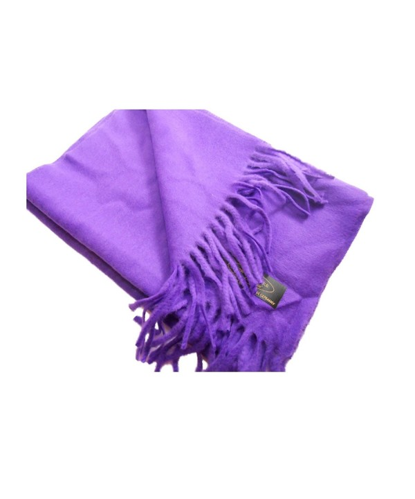 100% Cashmere Wool Scarf Solid Color Made in Germany - Plum - C41297FZAHH