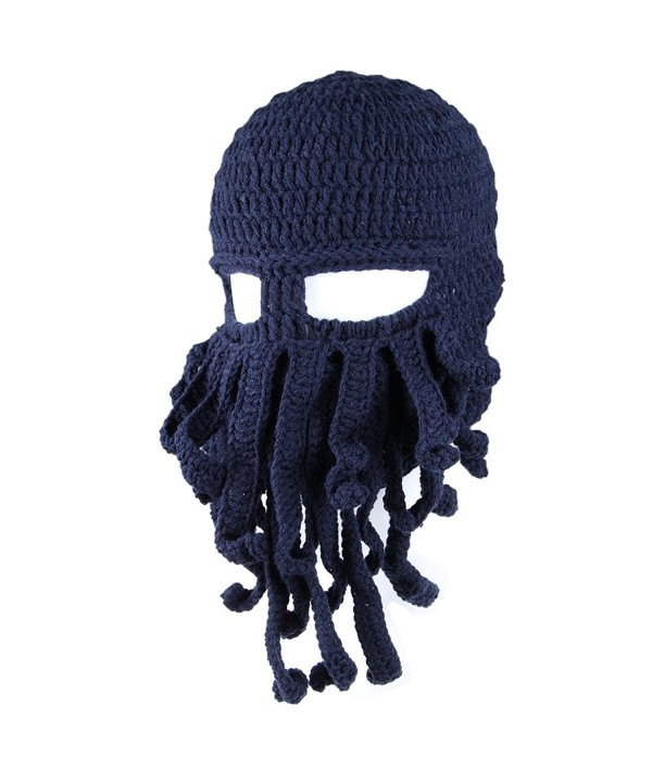 LSERVER Winter Warm Beanie Funny Balaclavas Unisex Knit Beard Octopus Hat - Dark Blue - CL1859GLRQ4