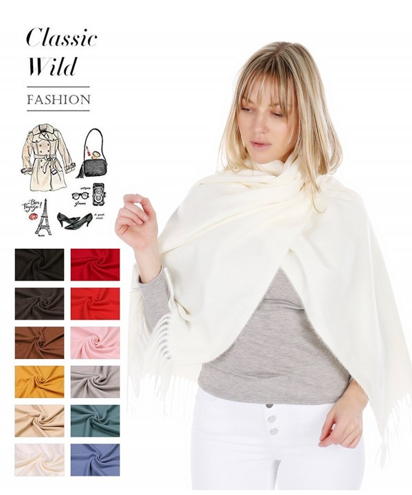 RufnTop 100% Cashmere Scarf- Winter Large Warm Scarves Shawls Wrap for Women Men Gift - Ivory - C9189Y2H3EM