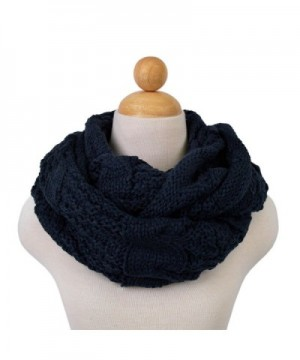 TrendsBlue Premium Winter Thick Infinity Twist Cable Knit Scarf - Diff Colors Avail. - Navy - C511R243YFR