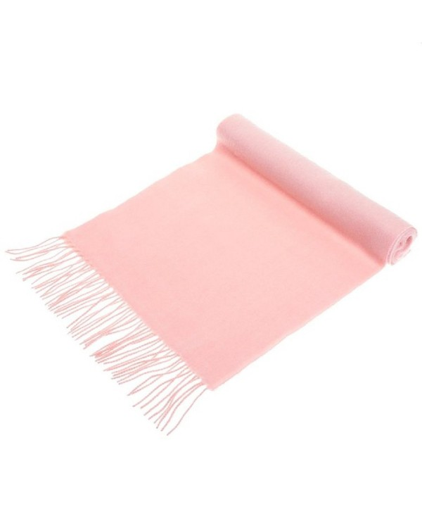 100% Cashmere Wool Scarf Solid Colors Made in Germany - Pink - C212EDVIZ55