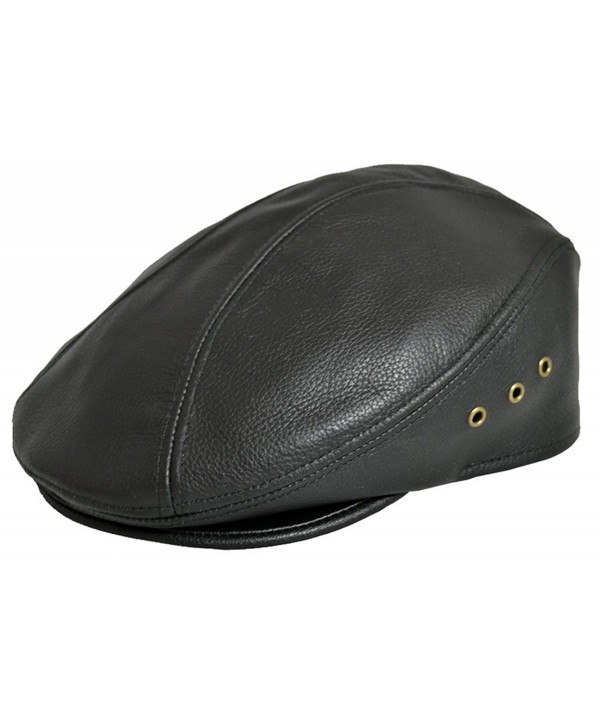 Siena Cowhide Leather Fine Ivy Driver Cap Made in USA Various Colors - Black - CR11I60Q5U7