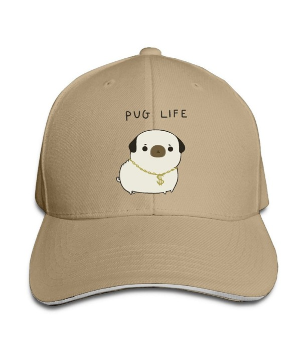 Pug Life Unisex Casual Coloring Adjustable Trucker Fashion Sandwich Cap - Natural - CK184YM93DU