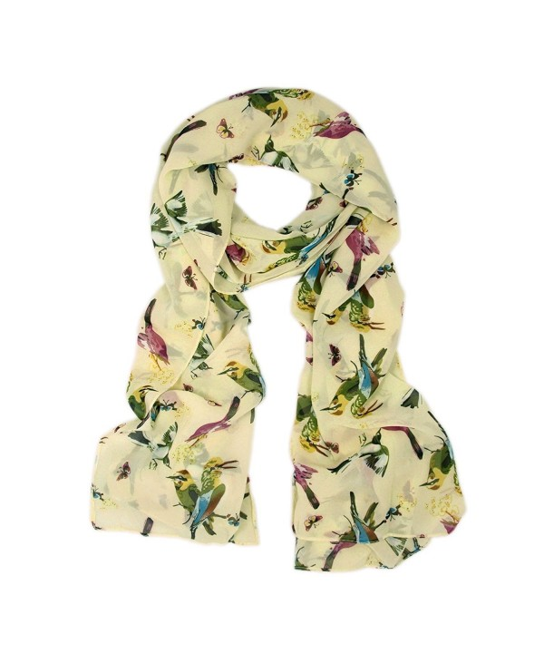 TrendsBlue Elegant Birds & Butterflies Print Fashion Scarf - Diff Colors Avail - Cream - CF11DM7JHM7