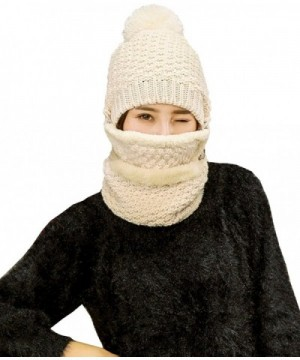 FeelMeStyle Women's Winter Knit Hat Crochet Ski Cap Pom Pom Ears Cold-proof Hat - 002-beige - CU187CHAQZD