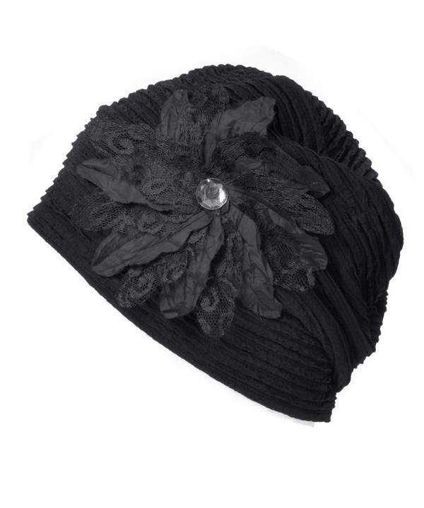 Casualbox Charm Womens Flower Hat Beanie Cute Slouchy Ladies Fashion Elegant Floral - Black - CH1256XB0BF