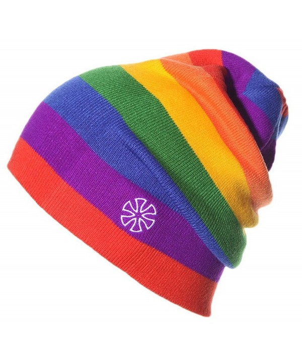 Woo2u Slouchy Snappy Outdoor Cap Beanie Rainbow Stripe Knit Ski Sport Hat - Red - CJ12N766CRM