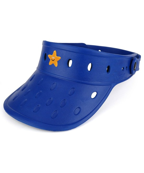 Trendy Apparel Shop Durable Adjustable Floatable Foam Visor Hat With Starfish Snap Charm - Navy - C617YYR7AC6