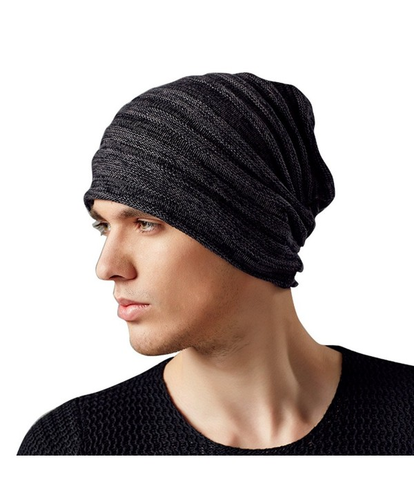 Kenmont Autumn Winter Men Warm 100% Cotton Outdoor Beanie Hat Skull Slouch Cap - Black Grey - CF11OYIN7MJ