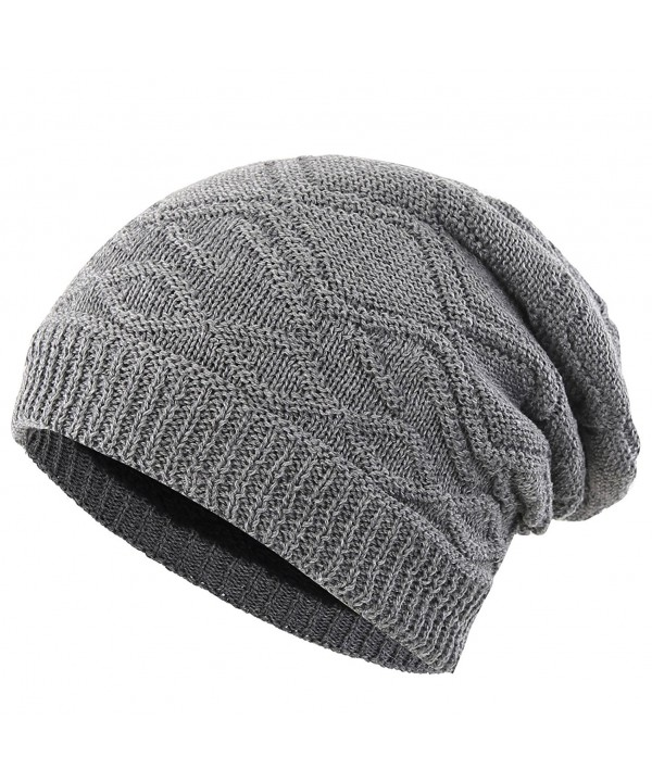 Connectyle Mens Thick Slouchy Knit Beanie Hat Lined Warm Winter Hats Watch Cap - Grey - C2186U3WZ9Y