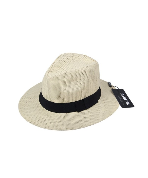 Dantiya Unisex Casual Fedora Straw Hat Cap With Belt - Color4 - CZ12HP1D9SN