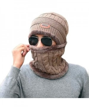 Han shan Winter Mens Knit Hat and Ladies Knit Hat + Scarf- Winter Lovers Hat - Light Brown - CI188D647L4