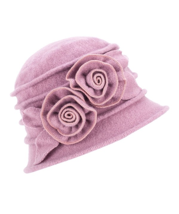 Lawliet 1920s Gatsby Womens Flower Wool Warm Beanie Bow Hat Cap Crushable A287 - Light Purple - C11263WXZFH