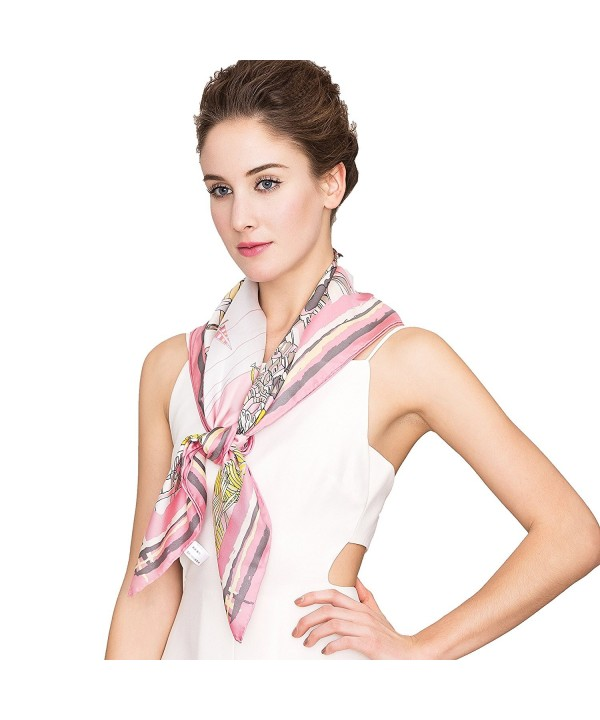 Silk Scarf Women- 100% Silk Pure Mulberry for Women Square Wrap 35''x35'' - Pink - CP17YC3WK8G