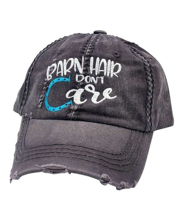 Loaded Lids Women's Barn Hair Don't Care Embroidered Baseball Cap - Grey/White/Blue - CV187ZZAWDC