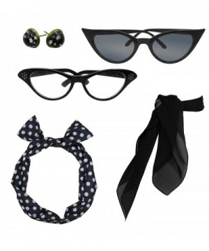 Retro 1950s Polka Dot Style Scarf Glasses Headband and Earrings Costume Accessories Set - Black - C5187D0YSQ0