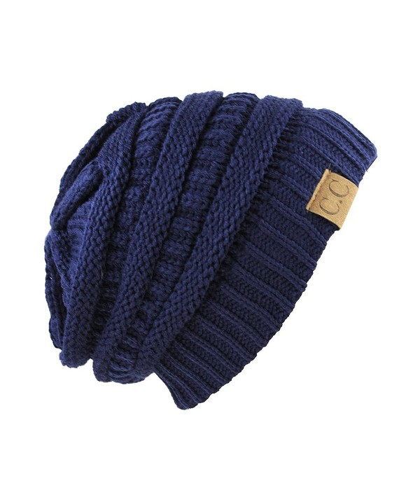 Unisex Trendy Warm Chunky Soft Stretch Cable Knit Slouchy Beanie Skully navy one size fits all - C7128EPTJO7