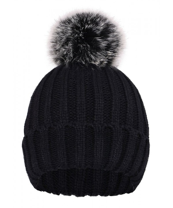 D Diana Dickson Cute Fluffy Fur Pompom Knit Winter Beanie Hat - Black - CC188IO8845