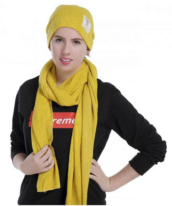 Firsthats Womens Fashion Solid Color Hat Scarf Two piece - Yellow - C912O5CPJ4Q