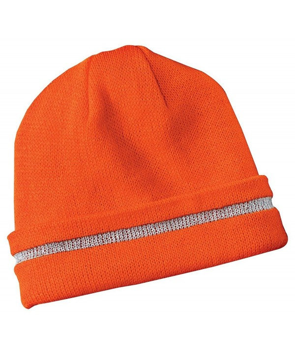 Safety Beanie Cap with Reflective Stripe- Color: Orange- Size: One Size - CL11277ABQD
