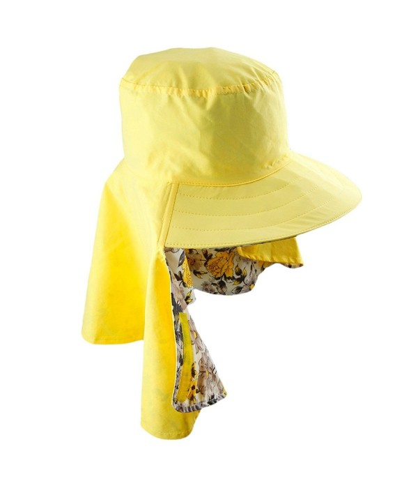 Samtree Women's Sun Protection Hat-Lightweight Fast Dry Foldable Neck Cover Flap Cap - 01-yellow - C712HKGRLCX