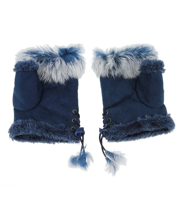 Winter Warm Fingerless Faux Suede Fur Driving Glove Mitten for Women Girl Gift - Blue - CC186NYE8NR