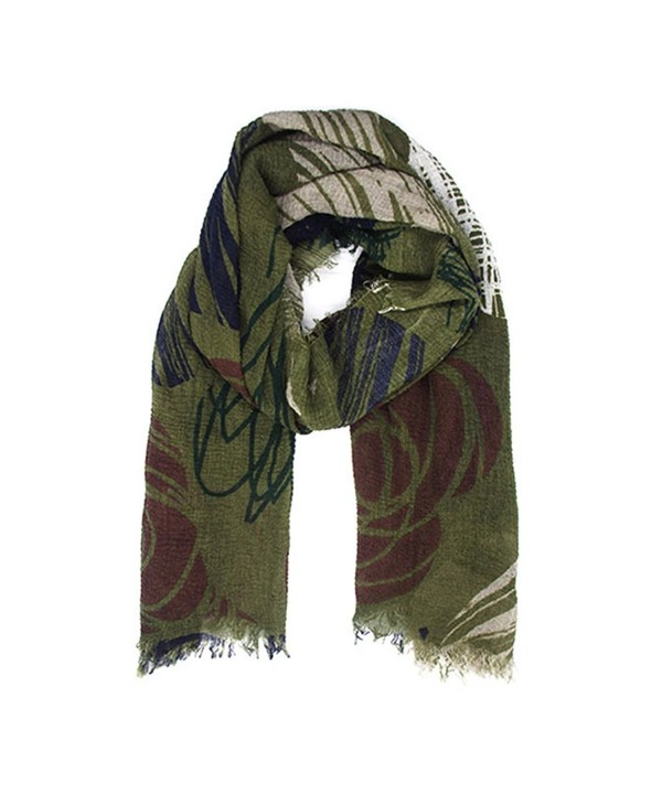 JIUMAN Womens Flowerlet Embroidery Cotton Tassels Soft Winter Warm Large Scarf - Dark Green - C718634D389