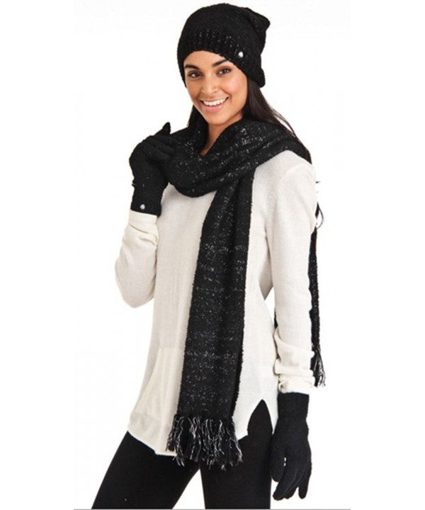 Aegean Apparel Women's Marshmallow Sparkle Winter Hat- Scarf & Gloves Gift Set - Onyx - CK122QQHB1N