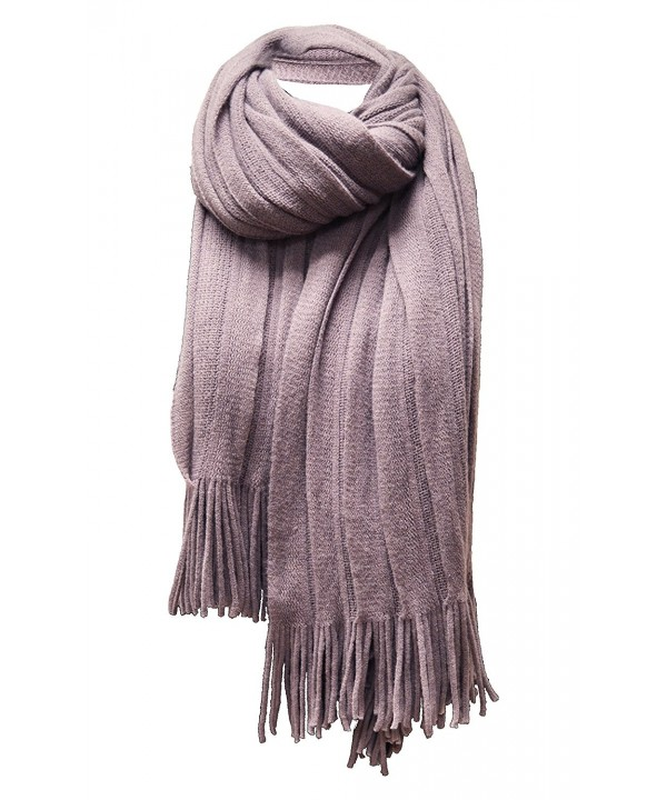 Women's 'Scarf' Soft Warm Winter Knit Scarf Tassels Soft Shawl - Smokey Purple - CY185XHIQSL