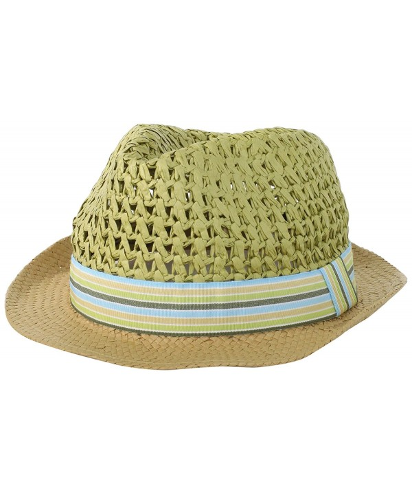 BCBGeneration Women's Color Block Crochet Fedora Hat - Zesty Green - CH11C3P13B7