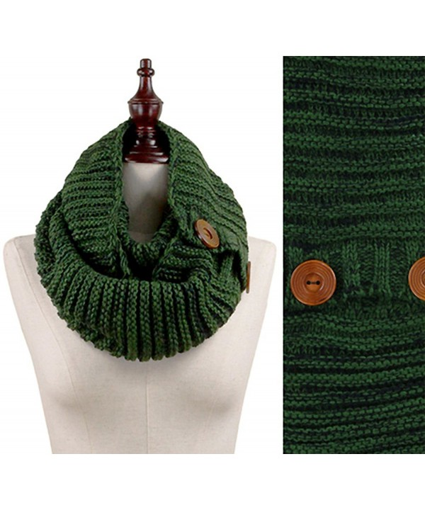 Stylesilove Wood Button Deco Two-tone Rib Knitted Cowl Scarf- 5 Colors - Green - CJ129ILB9CB