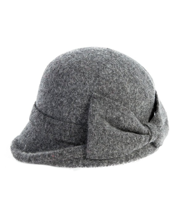 SIGGI Womens 1920s Vintage Wool Felt Cloche Bucket Bowler Hat Winter Crushable - 16209_grey - C512MYCY69F