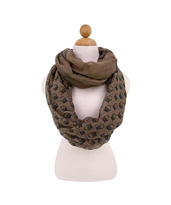 Premium Night Owl Infinity Loop Fashion Scarf - Different Colors Available - Taupe - C811I9ON477