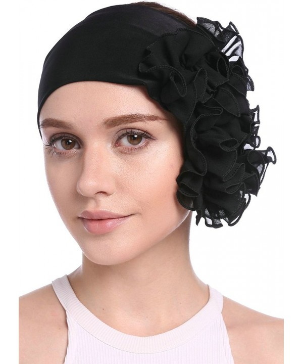 YI HENG MEI Women's Elegant Strench Chiffon Pleated Flower Hair Bands Headband Turban Cap - Black - C117Z4Z45NS