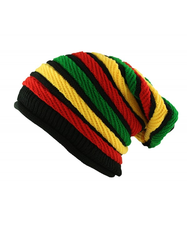 Itzu Oversized Slouch Rasta Stripes Beanie Hat Black Green Yellow Red - C511P4K9B99