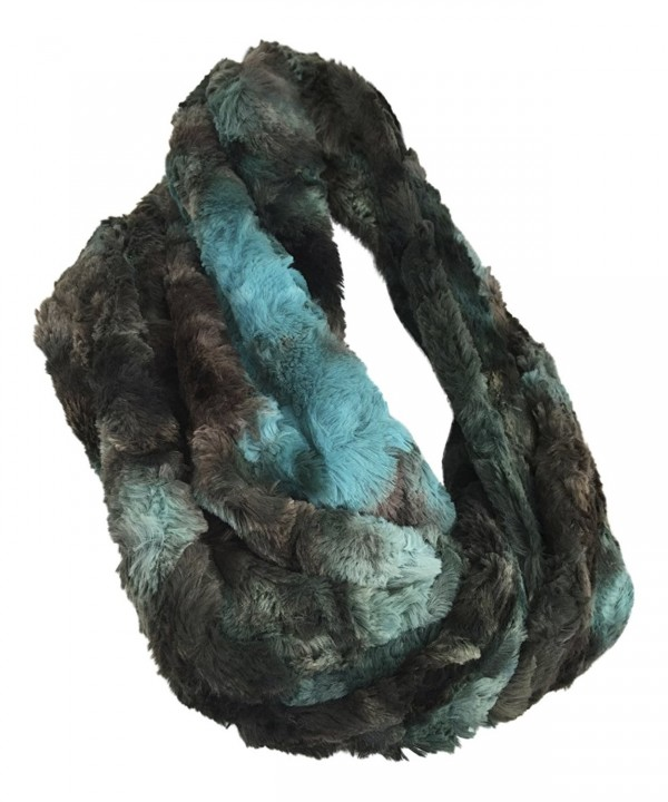 Pia Rossini - Womens Chunky Faux Fur Multi Colored Loop Circle / Infinity Scarf - Luella Aqua - CO12NEN3UB1